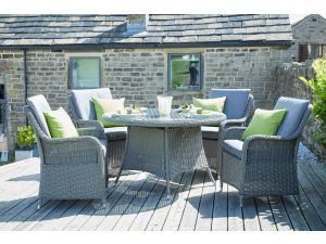 Pacific Barbados Slate Grey 4 Seater Round Rattan Dining Set