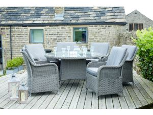 Pacific Barbados Slate Grey 6 Seater Round Rattan Dining Set