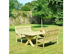 Alexander Rose Pine Farmers High Back Bench Set