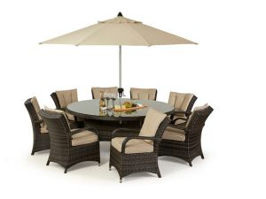 Maze Texas 8 Seat Round Rattan Dining Set - Brown