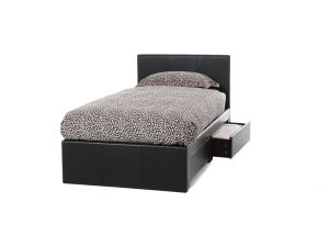 Serene Latino 3ft Single Brown Leather Bed Frame With 2 Drawers