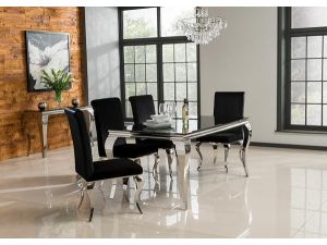 Louis Black Tempered Glass Dining Table With 4 Chairs