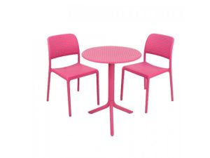 Europa Step Pink Standard Table With 2 Pink Bistrot Chairs Garden Set