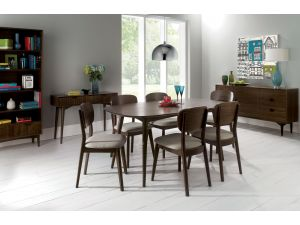 Bentley Designs Oslo Walnut 6-8 Table & 8 Linen Fabric Chairs