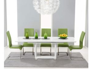 Beckley 160cm Solid Wood Dining Table With 6 Malibu Green Leather Chairs