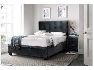 Walkworth 4ft6 Double Mid Grey Velvet Cliffe Ottoman Storage Bed