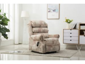 Lincoln Autumn Mosaic Fabric Dual Motor Petite Rise Recliner