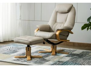 Pisa Cream Leather Swivel Recliner With Footstool