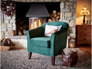 Galway Bottle Green Fabric Accent Chair