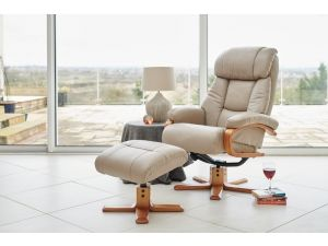 Nice Ivory Leather Swivel Recliner With Footstool
