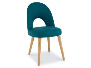 Bentley Designs Oslo Oak Teal Fabric Upholstered Chairs Pair