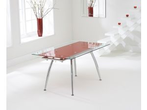 Roehampton Red Glass Extending Dining Table