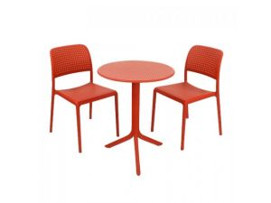 Europa Step Red Standard Table With 2 Red Bistrot Chairs Garden Set