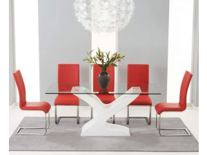 Natalie 180cm Clear Glass Dining Table With 6 Malibu Red Leather Chairs
