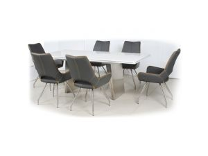 Shankar White High Gloss 160-200cm Table with Leather Match Chair