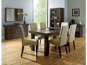 Bentley Designs Akita Walnut 4-6 End Ext. Dining Table + 6 Square Back Ivory Chairs