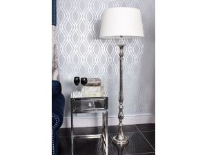 Nova Nickle Floor Lamp With Cream Shade