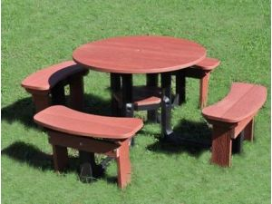 Round Red 206cm Picnic Table