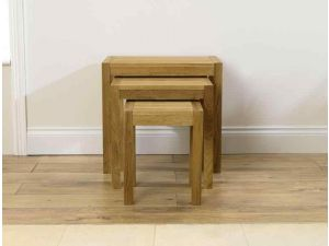 Verona Solid Oak Nest of 3 Tables in a Fingerjoint Style - Table 1