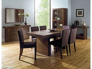 Bentley Designs Akita Walnut Panel Dining Table + 6 Square Back Brown Chairs