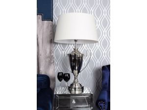 Trophy Nickle Table Lamp With Cream Shade
