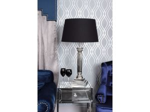 Corinthian Nickle Table Lamp With Black Shade