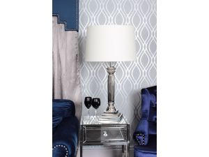 Corinthian Nickle Table Lamp With Cream Shade