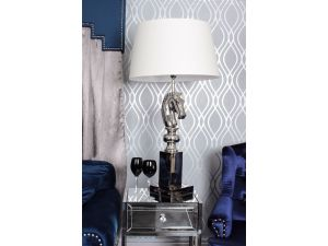 Horse Head Nickle Table Lamp With Cream Shade