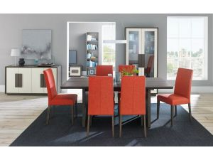 Bentley Designs City Soft Grey and Oak 6 Seat Dining Table + 4 Orange Taper Chairs