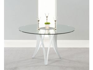 Bellevue 130cm Round Tempered Glass Dining Table
