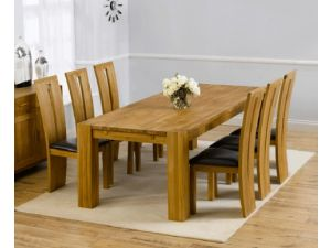 Madrid 200cm Solid Oak Extending Dining Table + 6 Arizona Leather Chairs