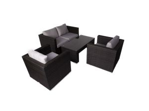 Denby 4Pc Rattan Sofa Set With Glass Table Top