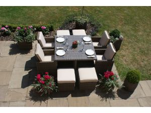 Maze Winchester 5pc 4-8 Seat Rattan Cube Set with Footstools