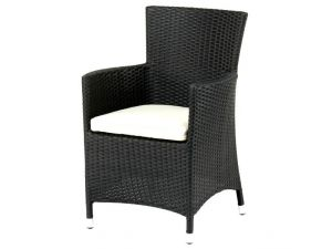 Royalcraft Cannes Black Rattan Kd Carver Chair with Cushion