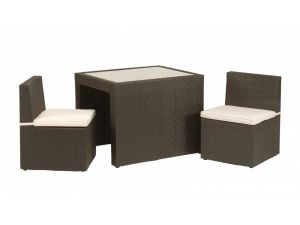 Royalcraft Cannes Brown Rattan 3pc 2 Seater Cube Breakfast Bistro Set
