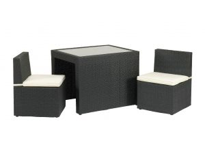 Royalcraft Cannes Black Rattan 3pc Cube Breakfast Set with Cushions