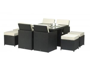 Royalcraft Cannes Rattan 8 Seat Black Garden Cube Set with Stools