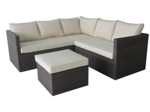 Royalcraft Cannes Black Rattan 4pc Standard Corner Sofa Set with Coffee Table