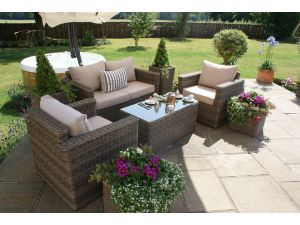 Maze Winchester Rattan 2 Seat Sofa Set with Rectangle Coffee Table