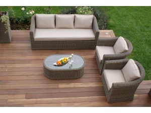 Maze Winchester Rattan 3 Seat Sofa Set with Curved Coffee Table