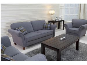 Argyle Grey Fabric 3+2+1 Seater Sofa Set