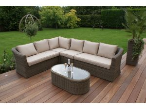 Maze Winchester Rattan Large Corner Sofa Set with Oval Coffee Table