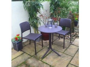 Europa Step Anthracite Standard Table With 2 Bistrot Chairs