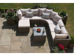 Maze Winchester Rattan Rounded Corner Sofa with Square Coffee Table