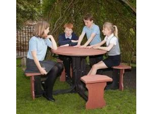 Small 4 Seat Red Round Picnic Table