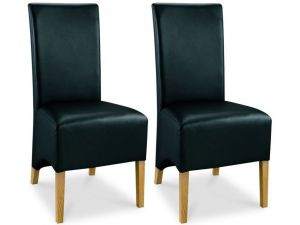 Bentley Designs Lyon Oak Wing Back Black Faux Leather Dining Chairs Pair