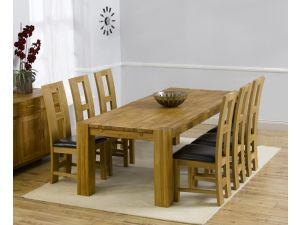 Madrid 240cm Solid Oak Extending Dining Table + 6 John Louis Slatted Chairs