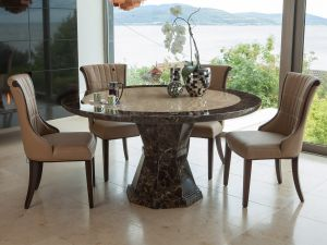 Ravelli 150cm Round Marble Dining Table With 6 Regina Chairs