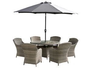 Royalcraft Wentworth 6 Seat Rattan Round Dining Set With Imperial Chairs