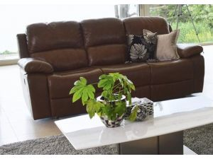 Primo Chestnut Brown Leather 3RR+1R+1R Recliner Sofa Set